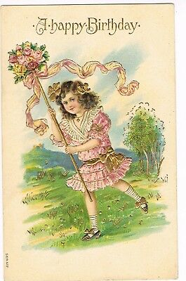 ANTIQUE EMBOSSED BIRTHDAY Postcard   YOUNG GIRL, PINK AND GOLD RUFFLED DRESS
