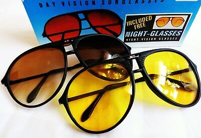 Vintage Retro 1970s 80s Amber Sunglasses & Night Glasses 2 Pairs New Old Stock