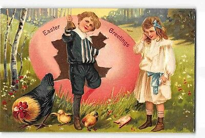jwm02h: EASTER HOLIDAY , 3 circa 1912  embossed litho postcards (2 PFB)
