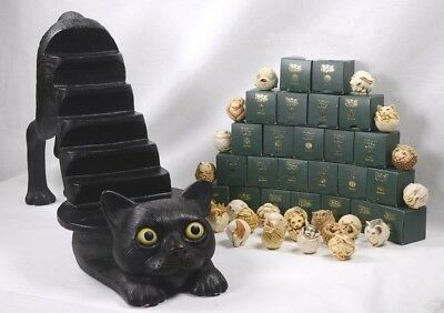 """HARMONY KINGDOM Display Black Stretching Cat 30""""L & 24 Roly Polys in Boxes"""