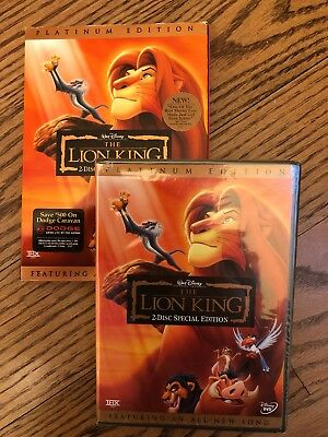 *New Sealed* The Lion King DVD Platinum Edition Authentic Disney- Free Shipping!