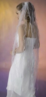 Wedding Veil-White Long Fluted Tulle Strips With Ribbon And Crystal Dangles