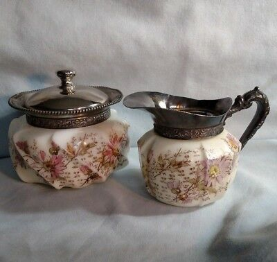 Wavecrest Non-Matching Creamer and Sugar with Floral Pattern