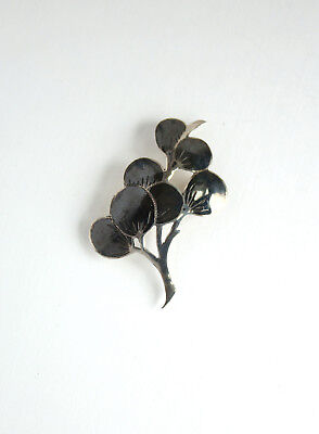 Vintage Sterling Silver Tree Plant Shaped Brooch Pin 925 Pendant