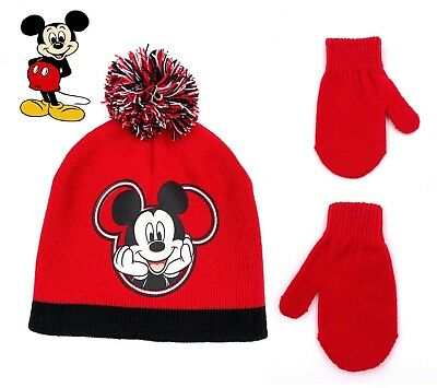 Disney Mickey Mouse Beanie Hat Mittens Cold Weather Set Toddler Boys Age 2-5 1da7960d2854