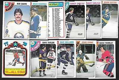 1978-79 Opc O Pee Chee Nhl Hockey Card Error Variation Insert 265-396 See List