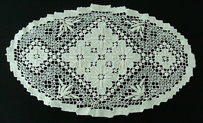 Vintage hand made cotton doily oval ecru 35x21cm flowers dream catcher