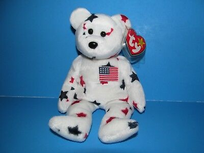 "1997 RARE! Ty Beanie Baby ""Glory"" the bear with TAG ERRORS & tag protector -NEW!"