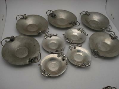 9 Lot  Nekrassoff Signed Hand Hammered Forged Pewter Dish Rose Double Handles