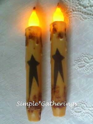 "2 BLACK STAR TIMER TAPER Candles 6 3/4"" Grungy Cream BEESWAX  Primitive 6.75"""
