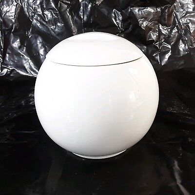 Vintage Manning Bowman Art Deco MCM White Pottery Ice Bucket Canister