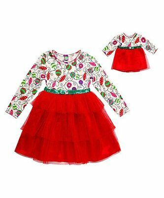 Dollie and Me Girls Christmas Dress Size 5 with Matching Doll Outfit NWT