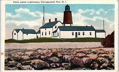 NARRAGANSETT PIER, RI Rhode Island  POINT JUDITH LIGHTHOUSE  1920   Postcard