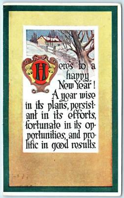Arts and Crafts  HAPPY NEW YEAR  Gibson Art 1915 Postcard