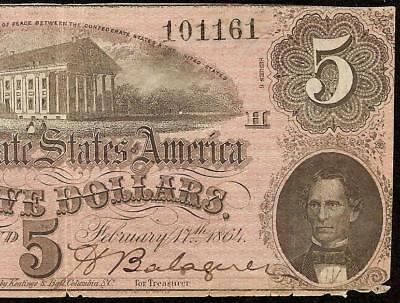 1864 $5 Dollar Bill Confederate States Currency Civil War Note Paper Money T-69