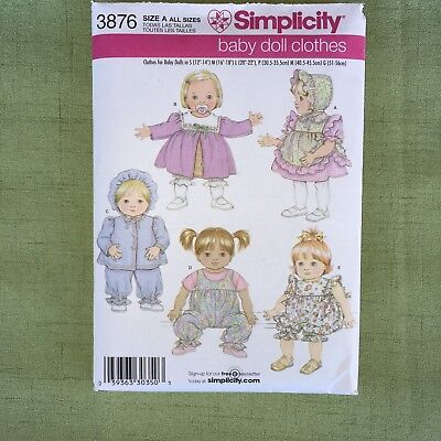 Simplicity SEWING PATTERN #3876 Baby Doll Clothes Size A Dress Jacket Hat