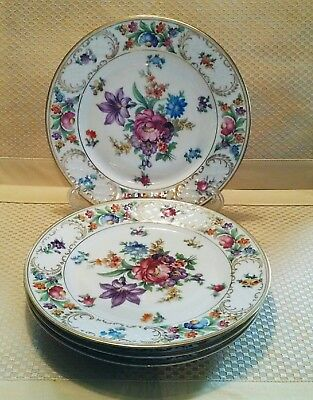 4 Antique SCHUMANN Bavaria Dresdener Art Old Dresden Flower Salad Plate c1918-29