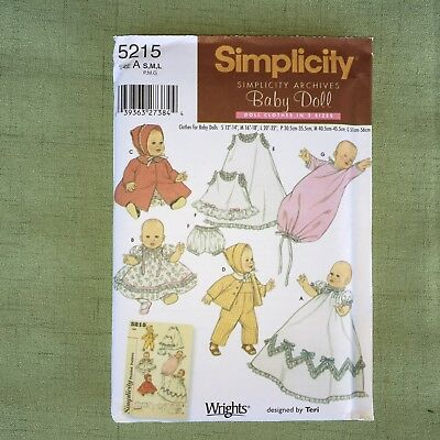 Simplicity SEWING PATTERN #5215 Baby Doll Clothes All Size Dress Coat Jumper OOP