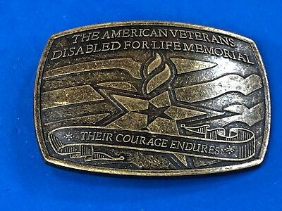 American Veterans Disabled for Life Memorial belt buckle Their Courage endures