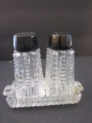 """Vintage glass salt & pepper shakers with handled tray & plastic lids. 2-1/4"""" t"""