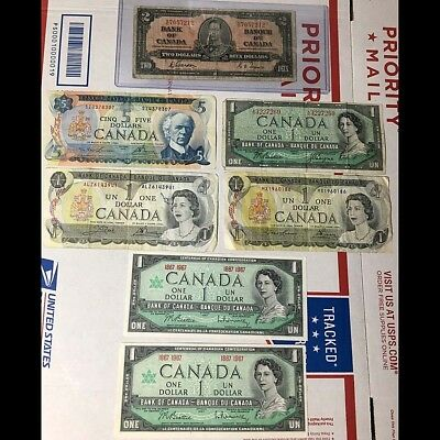 Lot 7 $12 face value Canadian Vintage currency 1937-73 One Two Five Dollar L@@K!