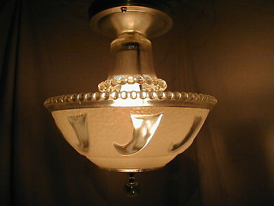 Vtg Antique 30S Art Deco Bubble White Clear Glass Shade Light Fixture Chandelier