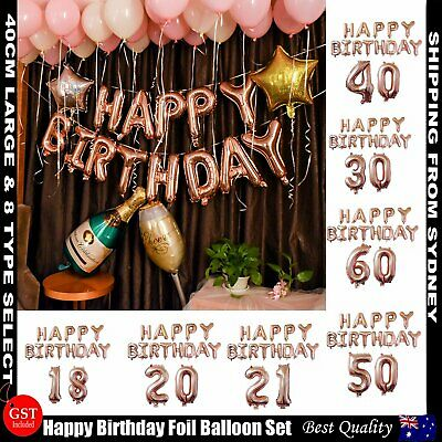 Rose Gold Happy Birthday Foil Balloon Set Letter Party Decoration Banner Bunting