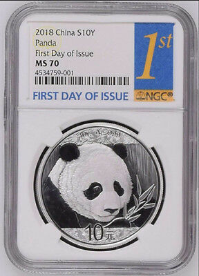NGC MS70 2018 China 30g Silver Panda Coin First Day of Issue