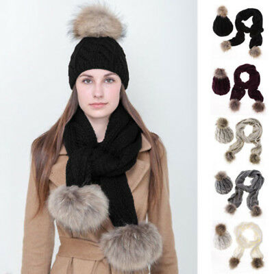 Fashion Winter Women Ladies Knitted Pom Beanie Hat And Scarf Set Knit Skullcaps