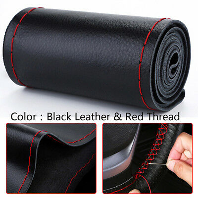 Black+Red DIY Genuine Leather Car Steering Wheel Cover Protect W/ Needles&Thread