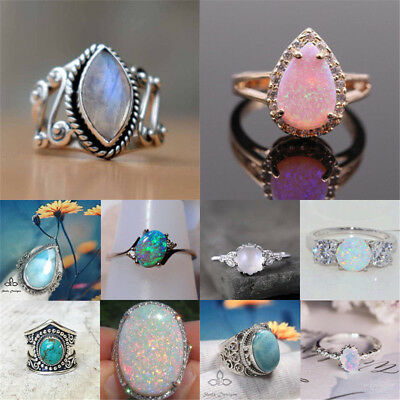 Retro 925 Silver Ring Woman White Fire Opal Moon Stone Wedding Engagement SZ6-10