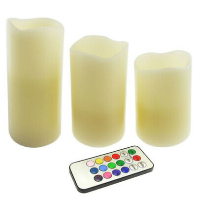 3x Flameless Flickering LED Wax Mood Candle Set With Colour Changing Remote
