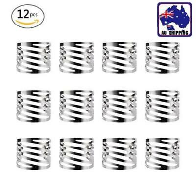 12PCS Metal Silver Napkin Rings Napkin Holders Wedding Banquet Dinner Decor AU