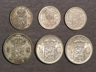 NETHERLANDS EAST INDIES 1898-1941 1/10-1/4 Gulden Silver - 6 Coins