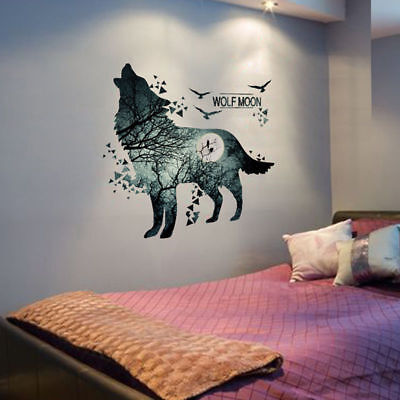 Removable Howling Wolf and Moon DIY Wall Sticker Decal Art Home  Decor DIY  A33