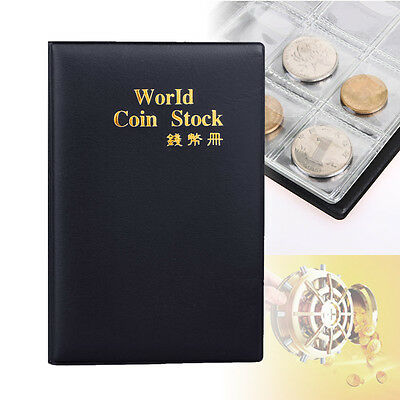 120 Slot Coin Penny Collecting Holder Pockets Storage Folder Album Book Black PK