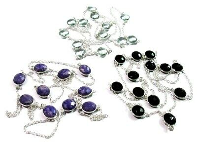 Fabulous! Charoite,Aquamarine & Black Onyx Quartz 925 Silver Plated 3 Pcs Chain