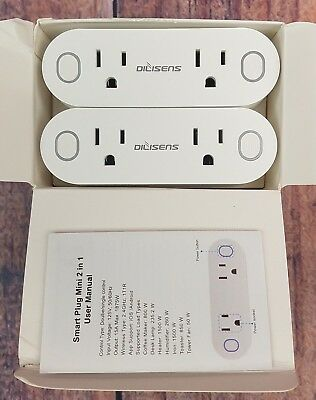 DILISENS Smart Plug WiFi Mini Sockets 15A Timing Switch Energy Monitoring