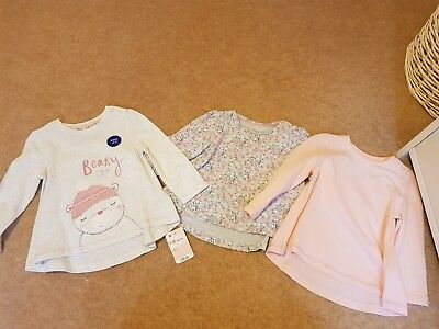 3 Pack of Mothercare girls 9-12 months Tops