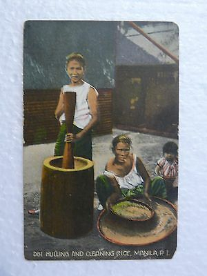 D61 Hulling and Cleaning Rice, Manilla P.I. (Denniston's) EARLY 1900's POSTCARD