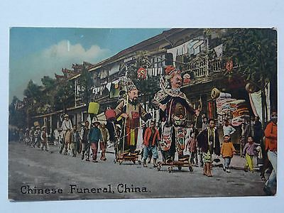 """China Early 1900's """"Chinese Funeral,China"""" Old Postcard"""