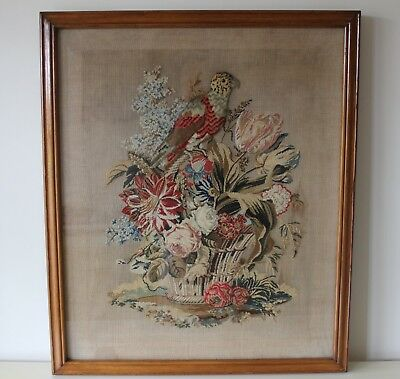 Delightful Antique Victorian Mahogany Framed Needlepoint Picture - Parrot and Fl