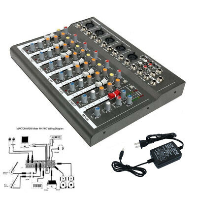 7 Channel Line Live Mixing Studio Audio Sound Mixer Console USB for DJ Karaoke