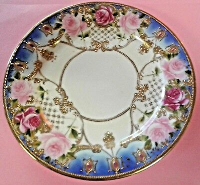 """Lovely ROSES & GOLD ENCRUSTED Plate 7 1/2"""" BEAUTY L A K USA"""