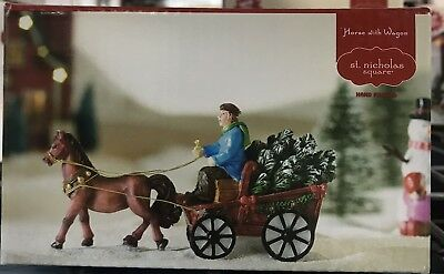 New St Nicholas Square Horse With Wagon Christmas Village - NEW