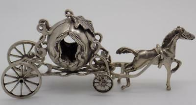 36g/1.28oz. Vintage Solid Silver Italian Made Princess Carriage Miniature, Stamp
