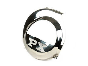 """Vespa PX 125 150 200 LML Stainless Steel Flywheel Cover """"PX"""" - Electric Start"""