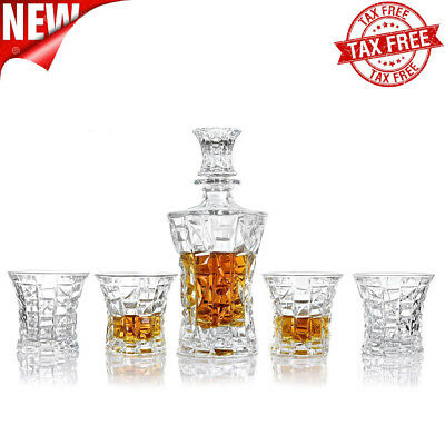 4 Piece Whiskey Decanter Set Sophisticated Glasses for Whisky Scotch Bourbon Rum