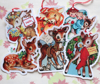 6 Gift Tags for Christmas ~ Deer~Paper Ornaments~ Vintage Card Images