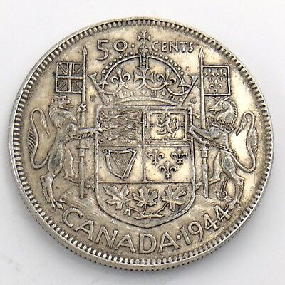 1944 Fifty 50 Cent Canada Half Dollar Circulated Coin Crisp Details H847
